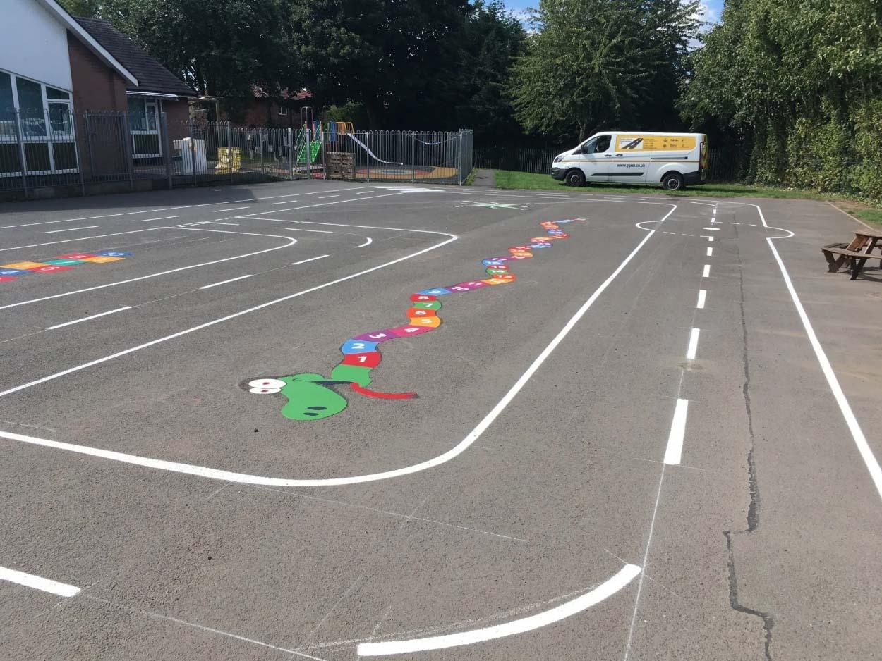 Snake markings on kids playground